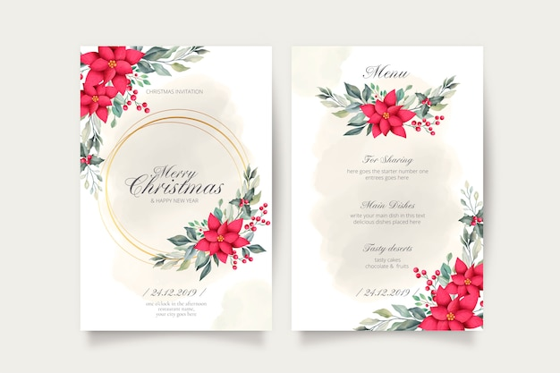 Lovely christmas card and menu template
