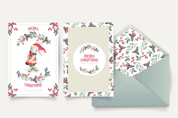 Lovely christmas card template with envelope Free Vector