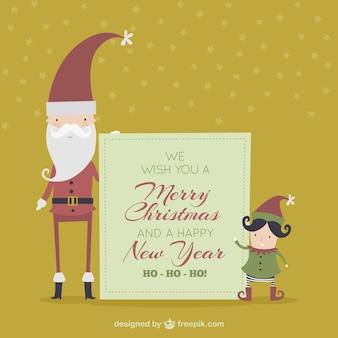 Cartolina di natale incantevole con babbo natale e un elfo