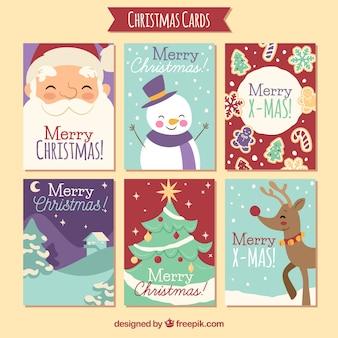 Lovely christmas cards set Premium Vector