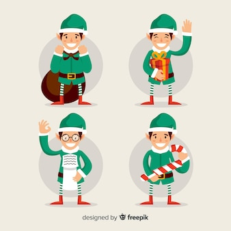 Lovely christmas character collection with flat design
