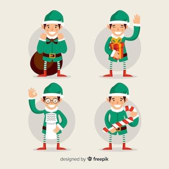 Bella collezione di personaggi natalizi con design piatto
