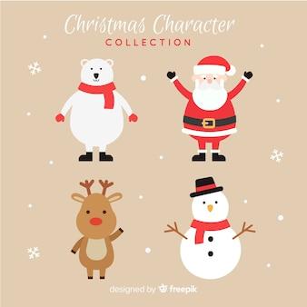 평면 디자인으로 사랑스러운 크리스마스 캐릭터 컬렉션
