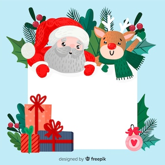 Lovely christmas character holding empty template
