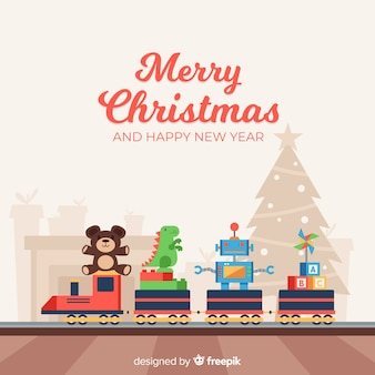 Lovely christmas composition with colorful toys
