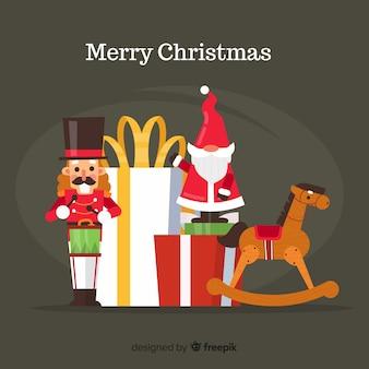 Прекрасная рождественская композиция с яркими игрушками