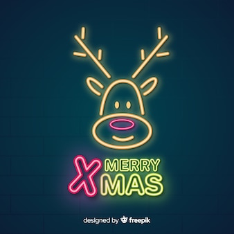 Lovely christmas composition with neon light style
