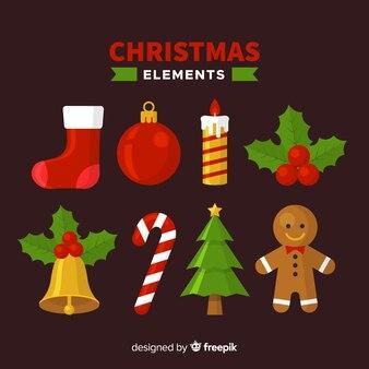 평면 디자인으로 사랑스러운 크리스마스 요소 컬렉션