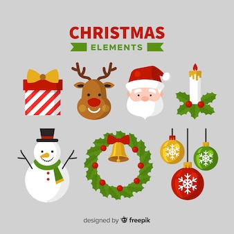 Lovely christmas element collection with flat design