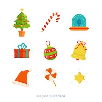 Прекрасная коллекция рождественских элементов с плоским дизайном