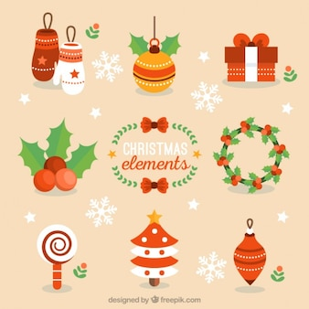 Lovely christmas elements Free Vector