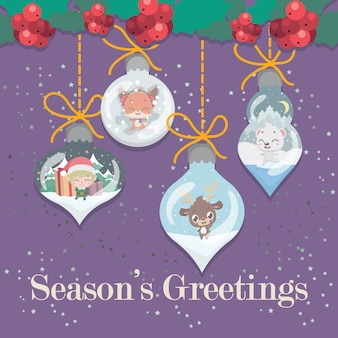 Lovely christmas greeting with ornamental elements