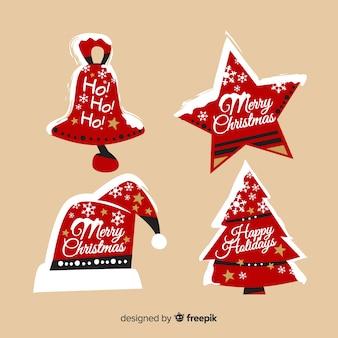 フラットデザインの素敵なクリスマスラベルコレクション