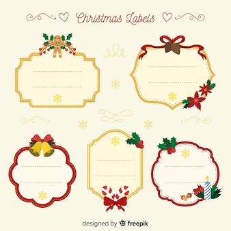Прекрасная коллекция рождественских этикеток с плоским дизайном