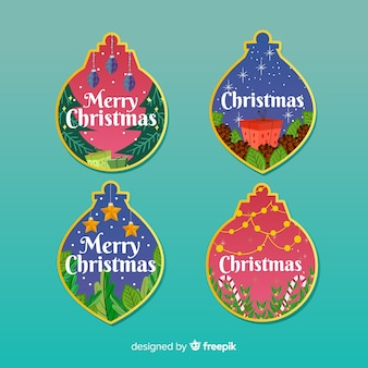 Lovely christmas label collection with flat design