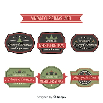 Lovely christmas label collection with vintage style