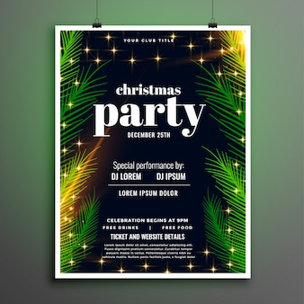 Lovely christmas party celebration leaves style flyer