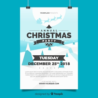 Lovely christmas party poster template