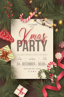 Lovely christmas party poster with cute ornaments