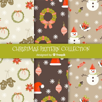 Lovely christmas pattern collection with flat design