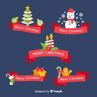 Lovely christmas ribbon collection with flat design