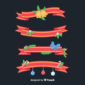 평면 디자인으로 사랑스러운 크리스마스 리본 컬렉션