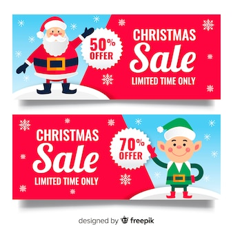 Lovely christmas sale banners with flat design