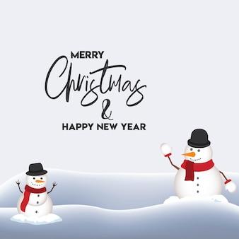 평면 디자인으로 멋진 크리스마스 눈사람 및 산타 클로스 배경