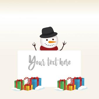 사랑스러운 크리스마스 눈사람과 산타 클로스 배경