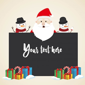 Lovely christmas snowman and santa clause background