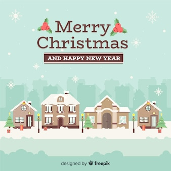 평면 디자인의 멋진 크리스마스 타운