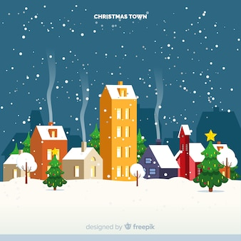 Lovely christmas town with flat design