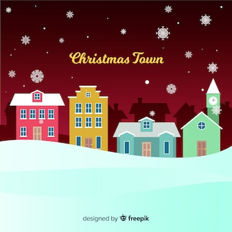 Lovely christmas town with paper style