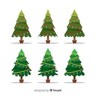 Прекрасная коллекция елки с плоским дизайном