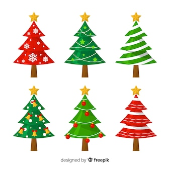 Lovely christmas tree collection with flat design