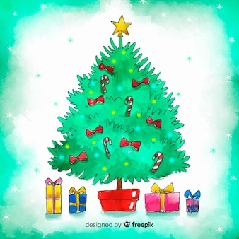 Lovely christmas tree in watercolor style