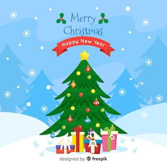 フラットデザインの素敵なクリスマスツリー