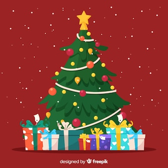 Lovely christmas tree with flat design