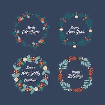 Lovely christmas wreath with merry christmas and happy new year lettering