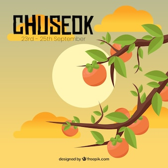 Lovely chuseok composition with flat design