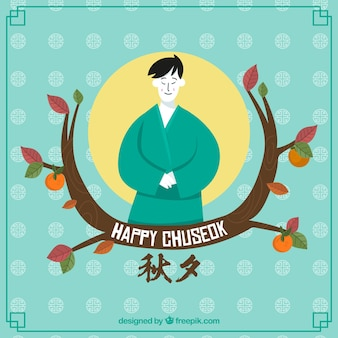 Lovely chuseok composition with hand drawn style