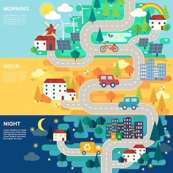 Прекрасная дорожная карта города в плоском дизайне