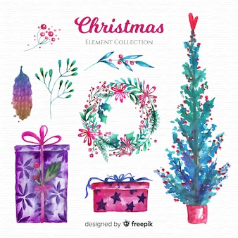 Lovely collection of watercolor christmas elements