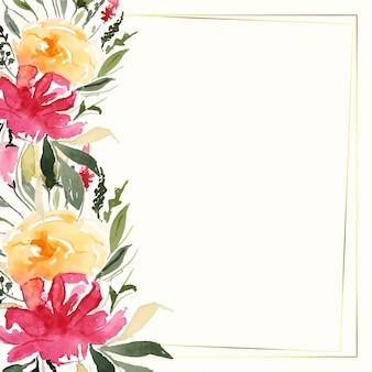 텍스트 공간을 가진 사랑스러운 다채로운 수채화 꽃 장식