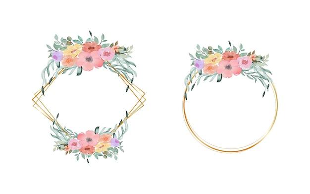황금 동그라미와 사랑스러운 다채로운 수채화 꽃 화환