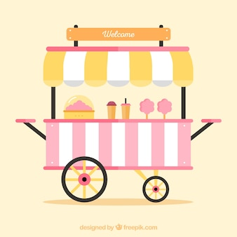 Lovely cotton candy cart with flat design