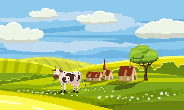 Lovely country rural landscape, cow grazing, farm, flowers, pasture, cartoon style, vector illustration