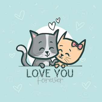 Lovely couple cats background illustration