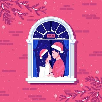 Lovely couple celebrating christmas illustration background