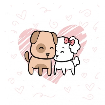 Lovely couple dogs background illustration
